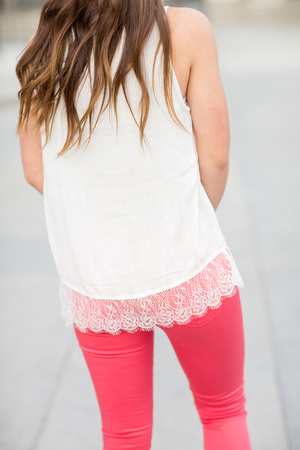 Timeless Grace Lace Edged Top in White
