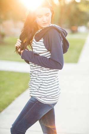 Make You Mine Double Hooded Sweatshirt in Striped Gray and Navy