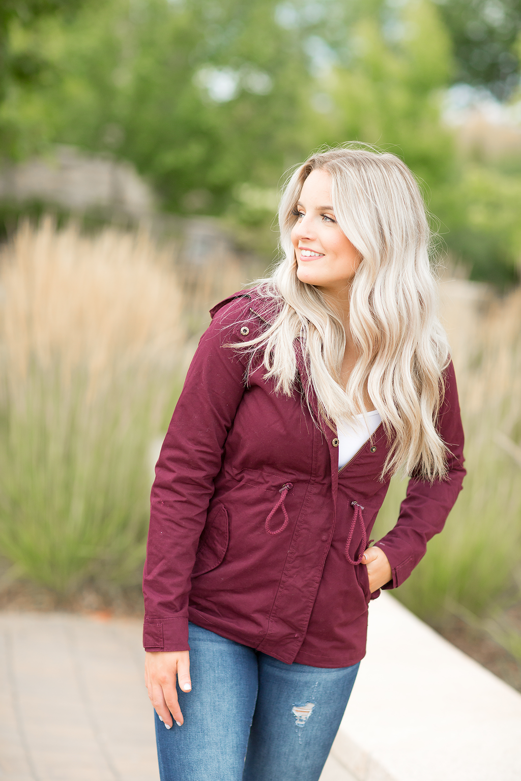 Life's Wonder Cargo Jacket in Burgundy