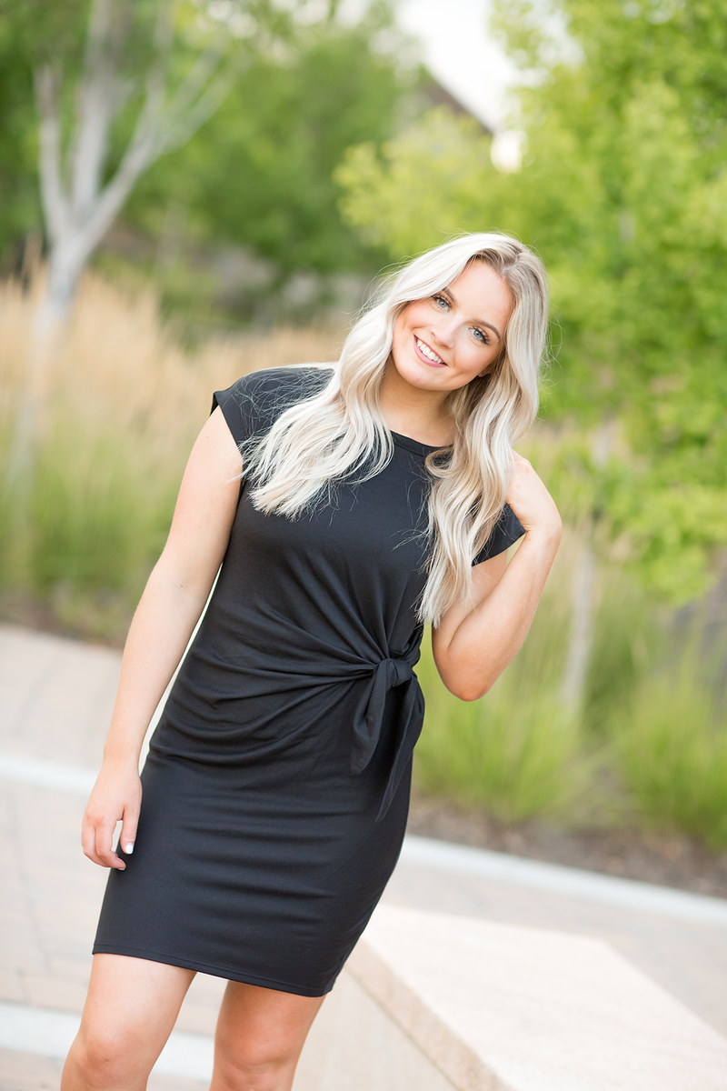 Wonder Struck Knotted Dress in Black