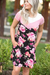 Take Me Away Floral Striped Dress in Pink (SALE)