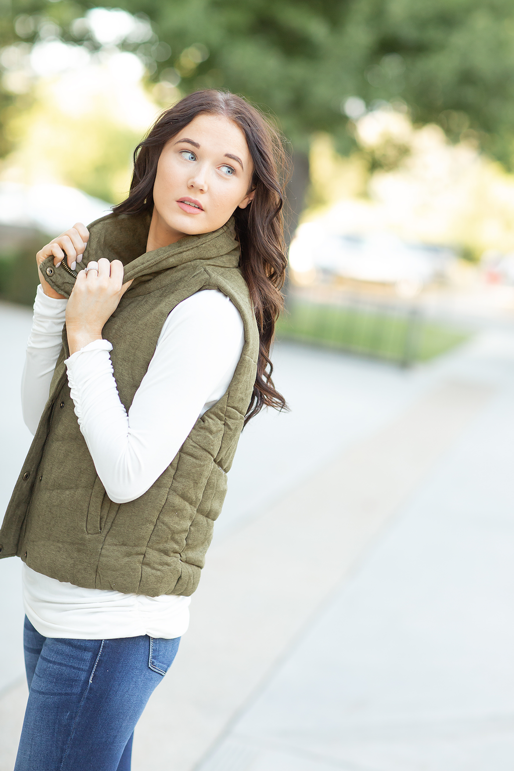 Take Your Time Vest in Olive