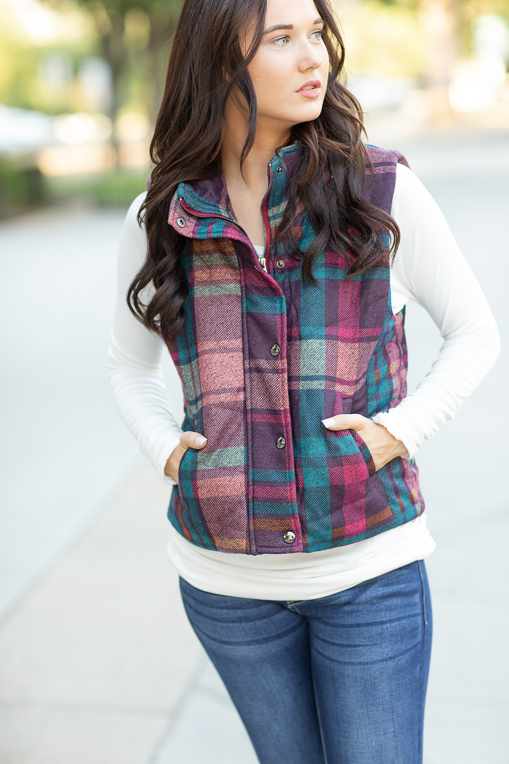Take Your Time Vest in Mixed Plaid