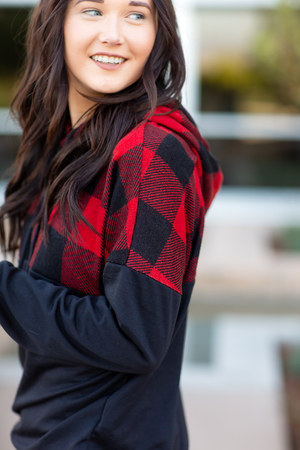 Life with You Hoodie with Buffalo Plaid
