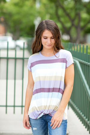 Set on You Multi Colored Striped Twist Top