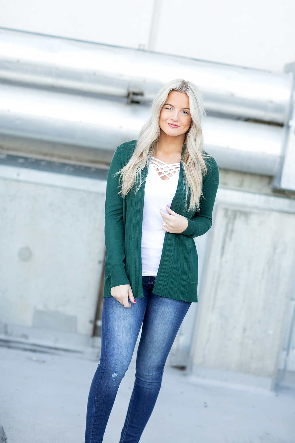 Time Goes By Cardigan in Forest Green