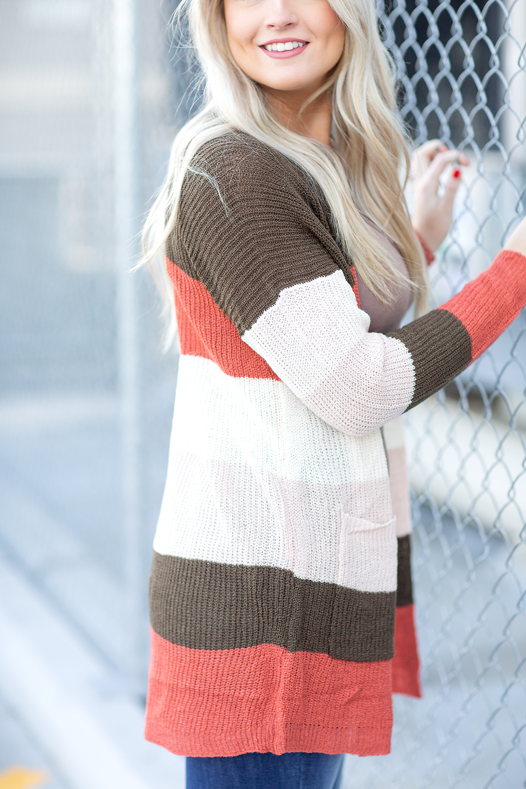 Let Me Know Multi Colored Cardigan in Rust, Olive and Cream