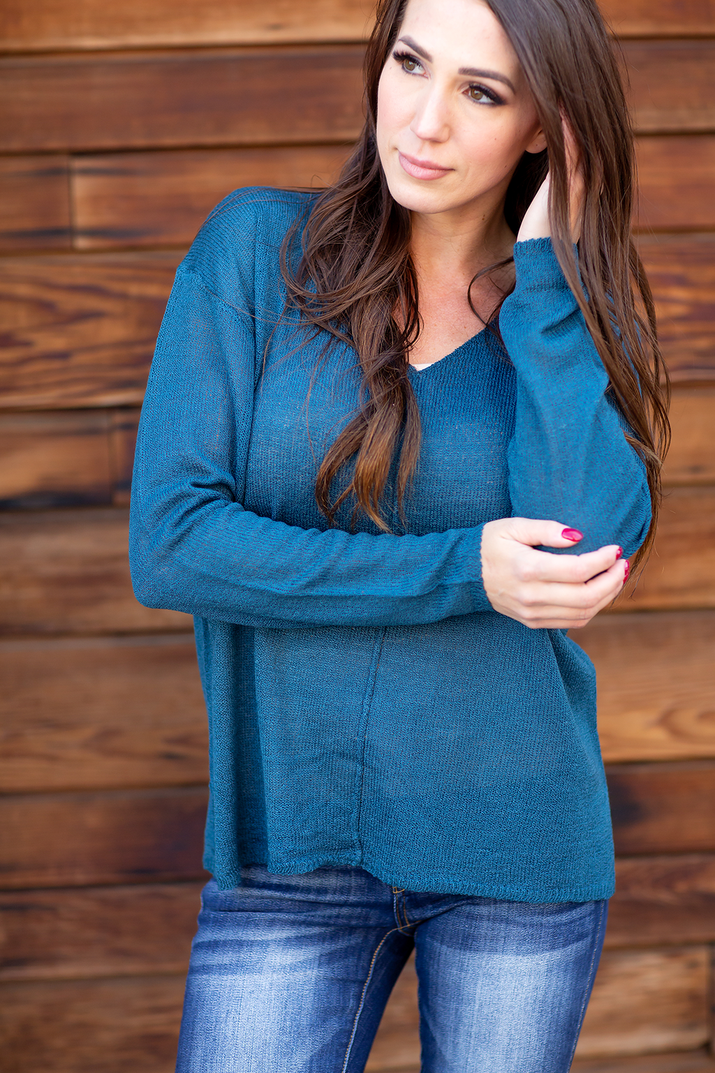 Do Me A Favor Knit Top in Teal (SALE)