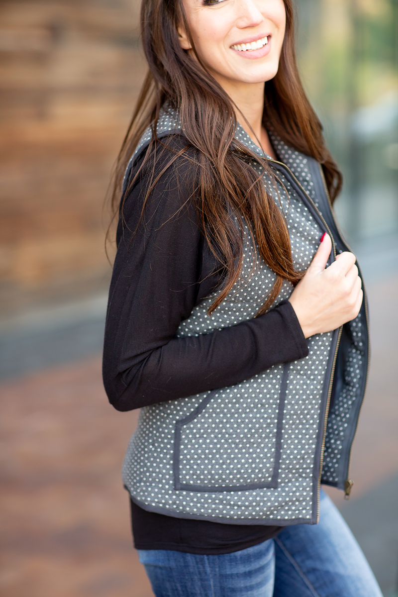 Busy Bee Polka Dot Vest in Charcoal
