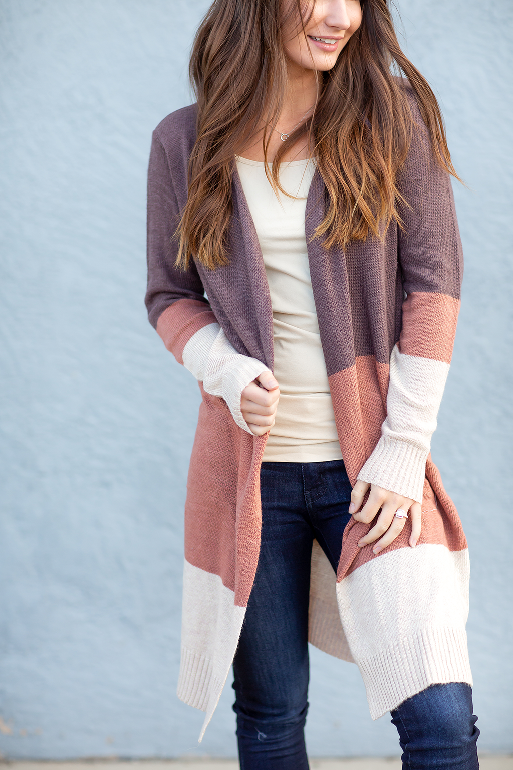 Happy Heart Color Block Cashmere Cardigan in Plum, Mauve and Cream