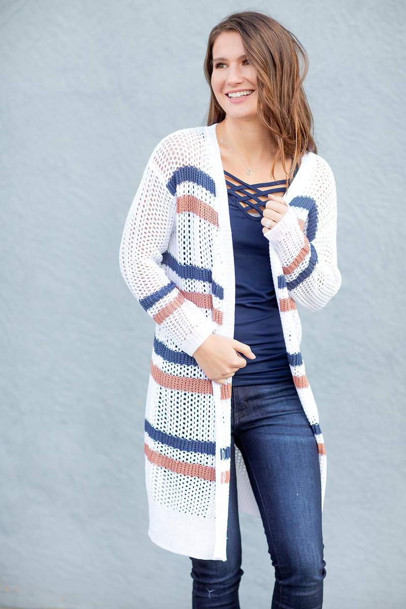 Arm Candy Cardigan in Navy, White and Blush
