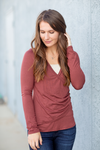 Busy Life Top With Buttons in Marsala