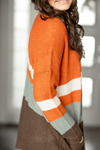 Always Dreaming Cardigan in Rust, Blue and Brown