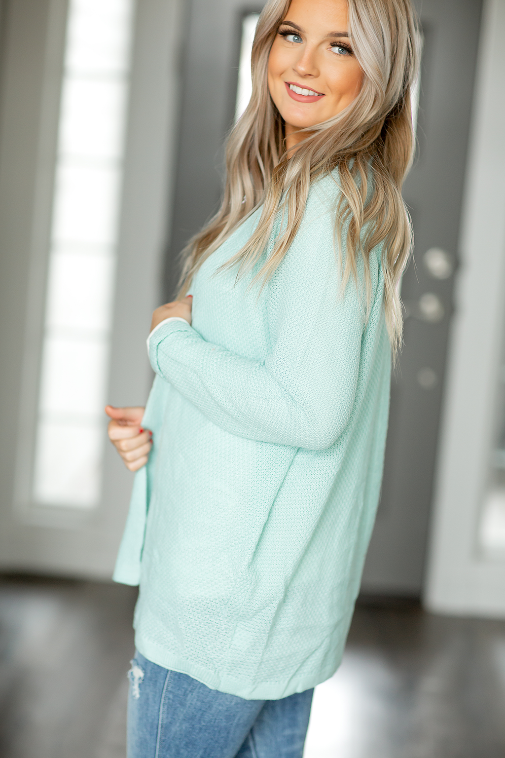 Happy Heart Cardigan in Light Aqua