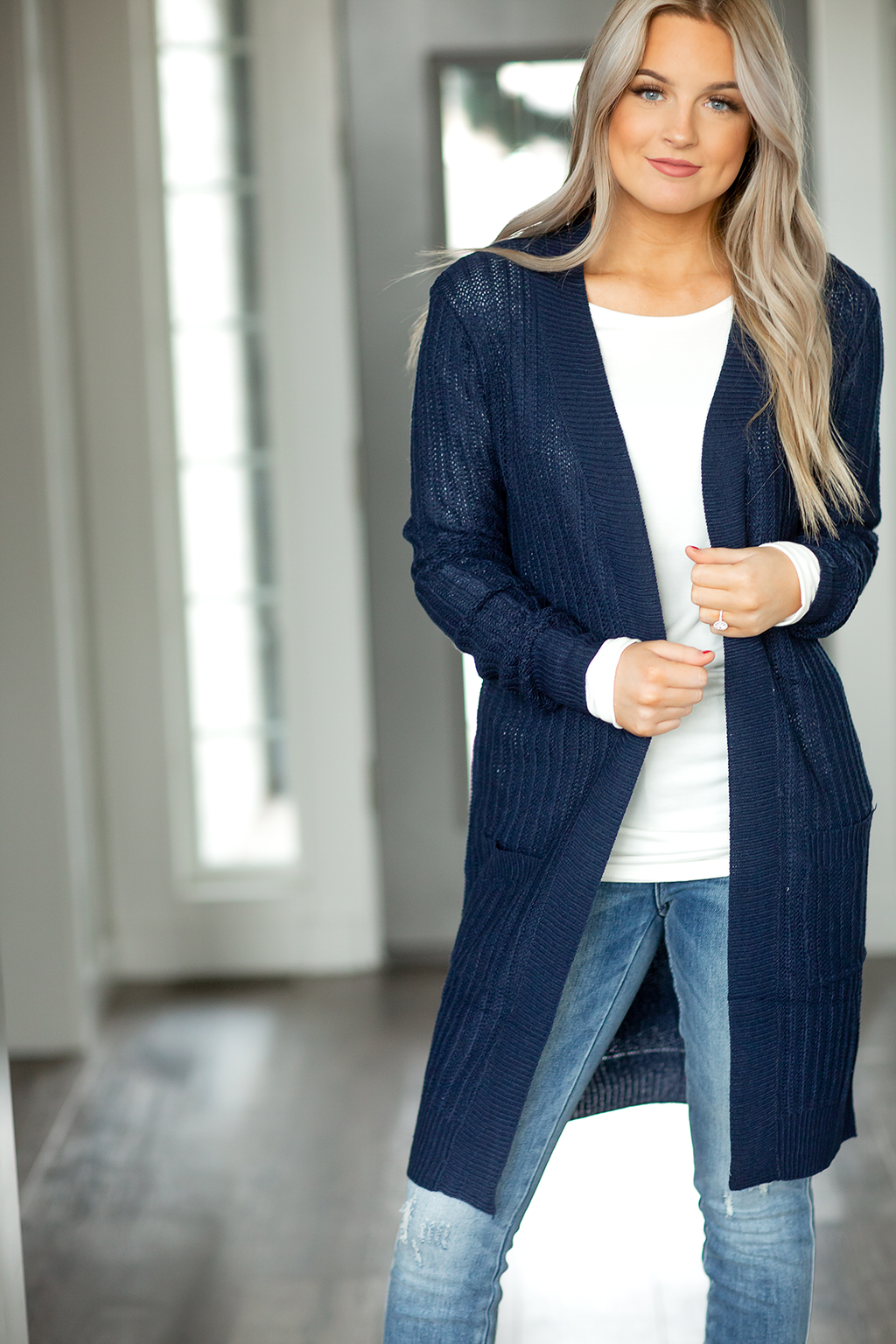 Waiting for You Sweater Duster Cardigan in Navy