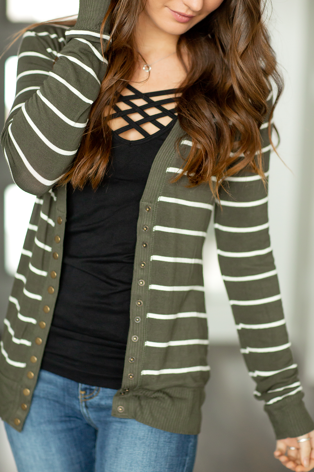 Must Have Been Love Striped Cardigan in Olive