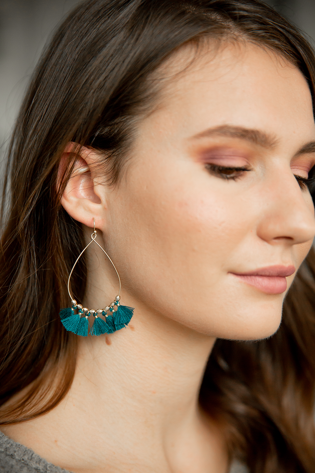 Cassie Fringe Earrings in Teal