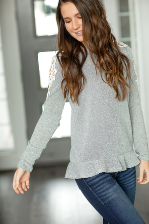 Feeling Pretty Lace Shoulder Top in Gray
