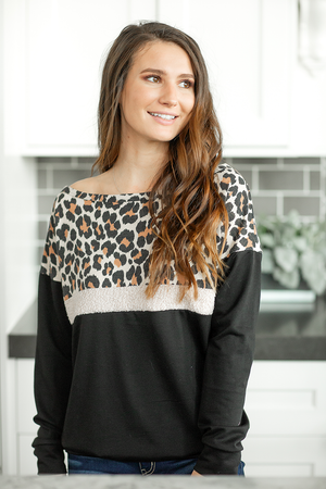 Give and Take Top with Animal Print in Black