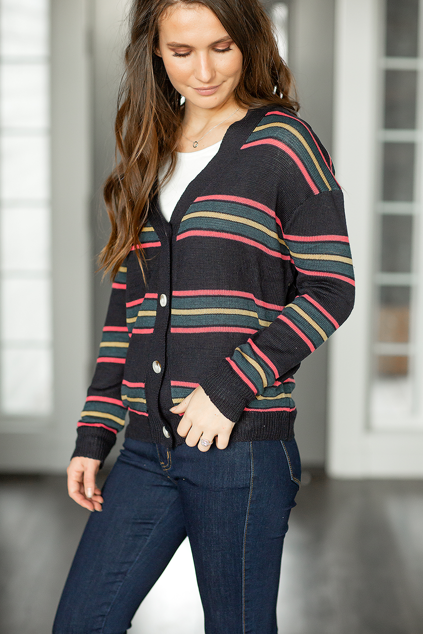 Sweater Weather Button Up Striped Sweater in Dark Navy
