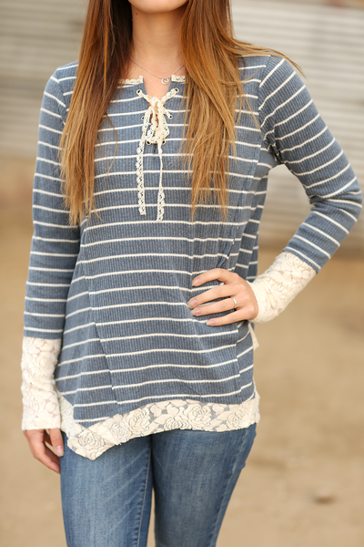 The Perfect Blend Lace Detailed Striped Top in Blue