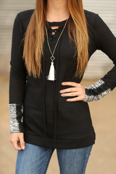 Cozy On Up Black Top With Contrast Sleeves