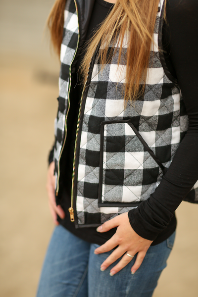 Just Plain and Simple Black and White Plaid Vest