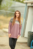 Master Plan Dusty Purple Pullover with Floral