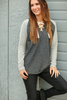 City Sleek Lace Up Top in Charcoal