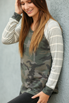Keep Me Happy Camo Top with Gray Striped Sleeves