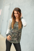 Keep Me Happy Camo Raglan Top with Gray Striped Sleeves