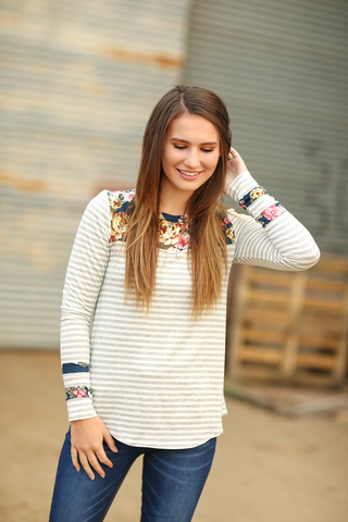 Ready For Anything Striped Top With Navy Floral Details