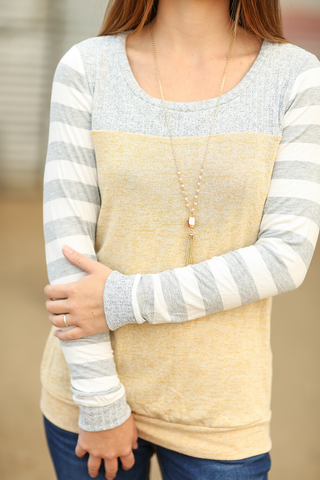 Stick The Landing Striped Long Sleeve Top in Mustard