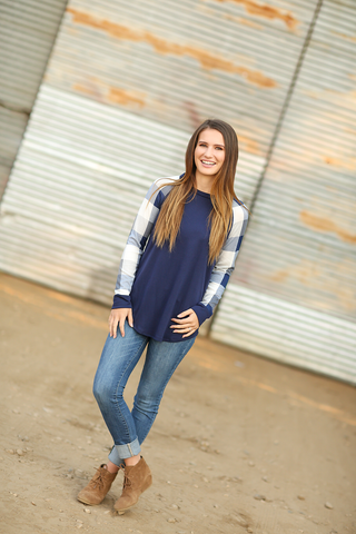 Here We Go Again Plaid Sleeve Top in Navy