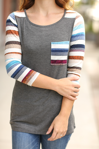 What I Love Multi Colored Striped Baseball Tee in Charcoal