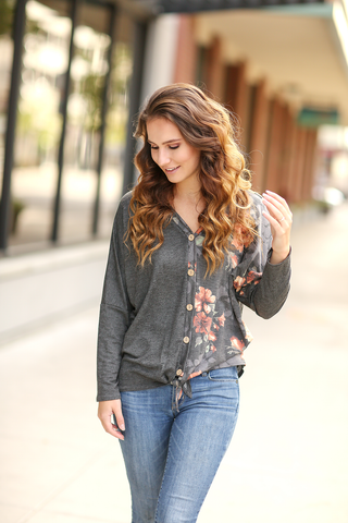 Half and Half Floral Top With Buttons in Charcoal