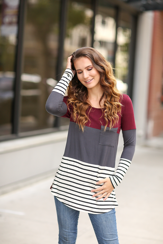 One Day at a Time Color Block Top with Stripes
