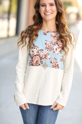 Sitting Pretty Floral French Terry Top With Blue Floral