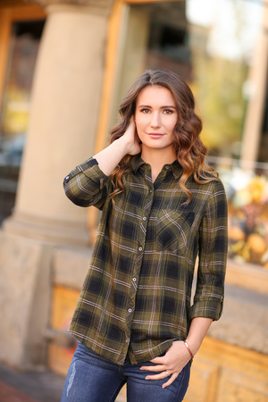 Talk of The Town Plaid Blouse in Olive