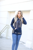 Count Me In Striped Cowl Neck Top in Navy and Mustard