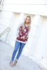 On The Double Floral Pullover in Burgundy