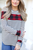 Time To Chill Ivory Striped Top with Buffalo Plaid Accent