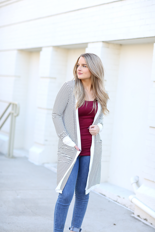 Waiting for You Striped Duster Cardigan in Black and White