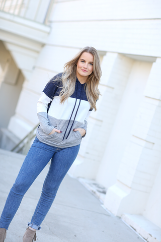 Ready For Anything Color Block Hoodie in Navy, Ivory and Gray