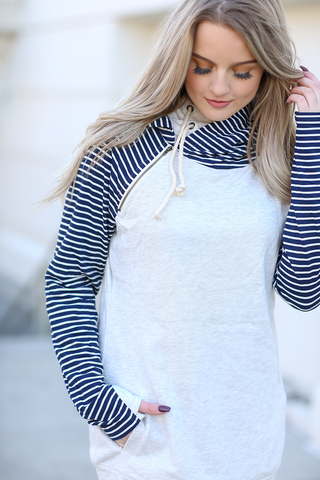 Dreaming of You Double Hooded Sweatshirt in Gray and Striped Navy