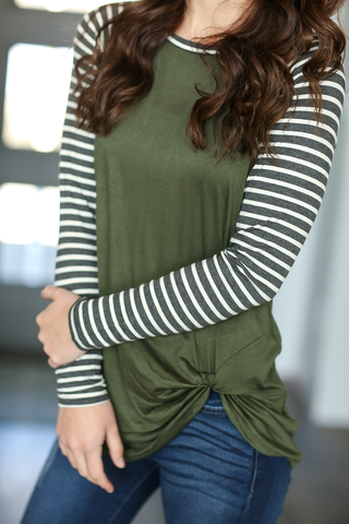 Most Wanted Striped Long Sleeve Twist Tee in Olive