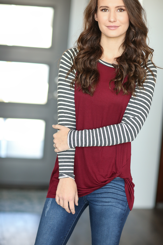 Most Wanted Striped Long Sleeve Twist Tee in Burgundy