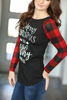 Filthy Animal Top with Buffalo Plaid Sleeves