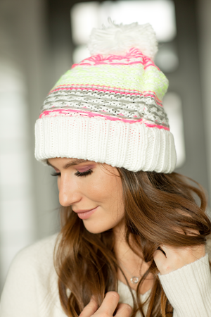 Slouchy Knit Beanie in White and Neon