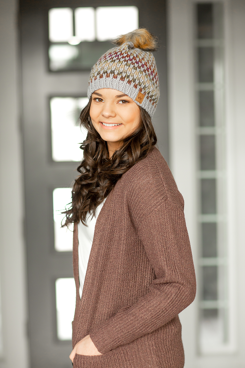 Multi Colored Beanie in Gray